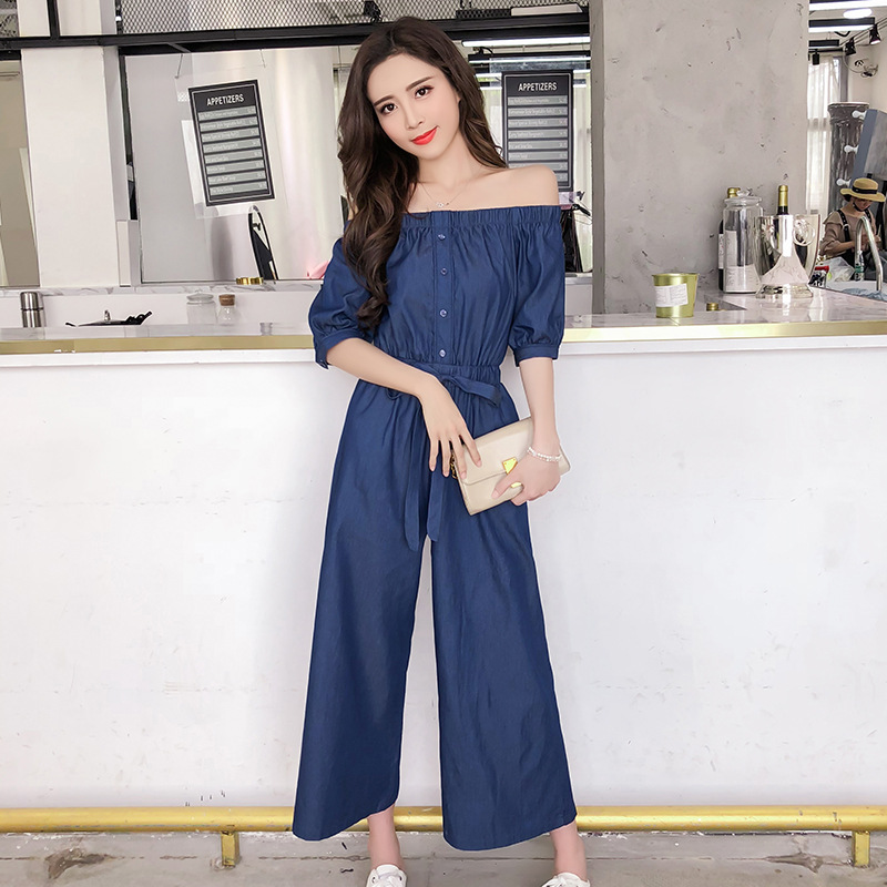 Wide Leg Denim Denim Jumpsuits Romper Off Shoulder Overalls for Women Blue Short Sleeve Female Streetwear 37