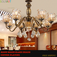 TD8002 Antique Bronze Copper Finish Metal Iron Frame Handmade Glass Shade Luxury Crystal Chandeliers Lights Handing