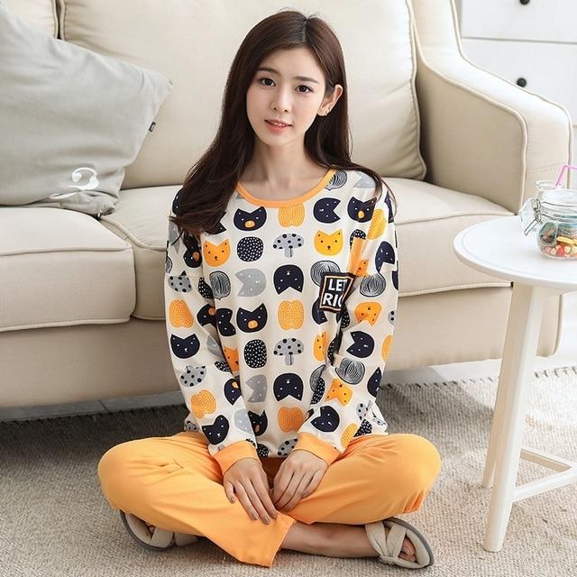 Autumn Night Suit Sleepwear Women Pajamas Set Girl Long-sleeved Knit Suit  Outerwear Korean Home Wear a227934cf