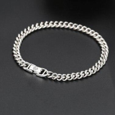 Bracelet homme 925 argent véritable 6mm 22 cm bracelet chaîne