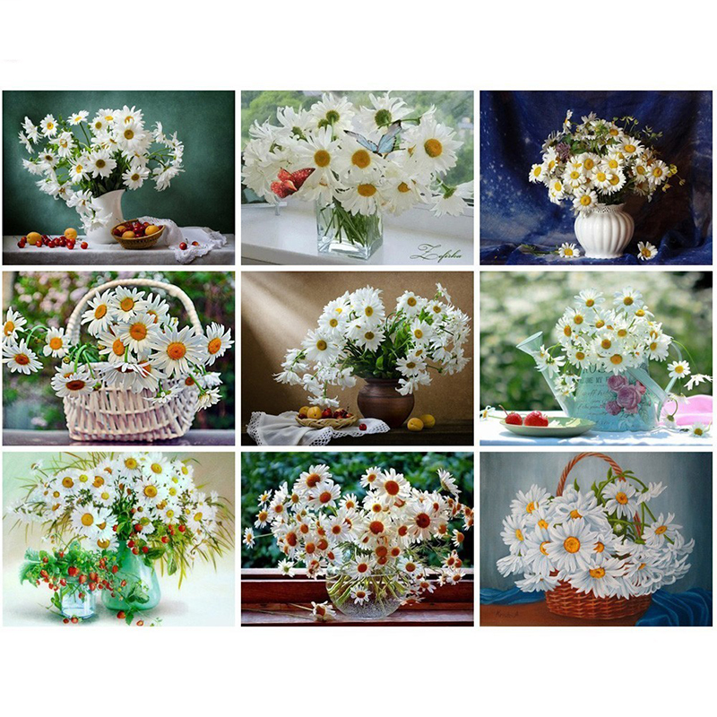 MTEN Diamond Embroidery Flower Daisy Full Square Diamond Painting Picture Of Rhinestone Mosaic Home Decoration Gift