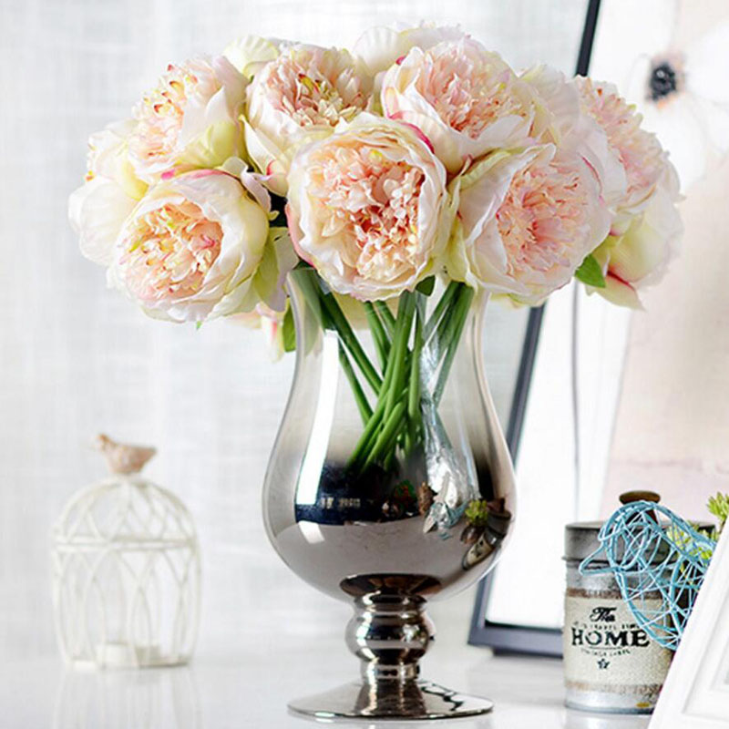 5 heads artificial flower peony bouquet european fall vivid fake flowers for wedding home new. Black Bedroom Furniture Sets. Home Design Ideas