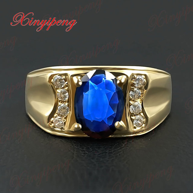 18 k gold inlaid natural sapphire ring ring 6 by 8 male contracted sedate Dark blue