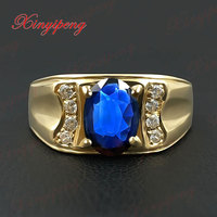 18 К золото инкрустированные Природный сапфир кольцо 6 на 8 мужской контракт степенный темно синий