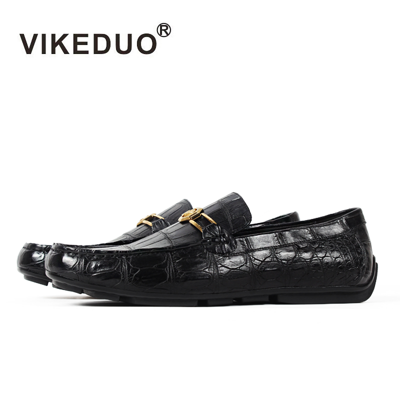 Vikeduo 2018 Handmade Luxury Shoes Fashion Party Casual Designer moccasins Alligator Genuine Leather Crocodile Skin Men Shoes