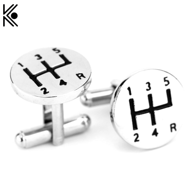 High Quality Silver plated Cufflinks car gear design Shirt Brand Cuff links Buttons for mens Gifts Summer style