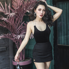 0326eb93130c 2018 Summer Very Sexy Black Velour Tank Top Women one Piece bodysuits Slim  High Rise Knitted Type Stretch Fabric