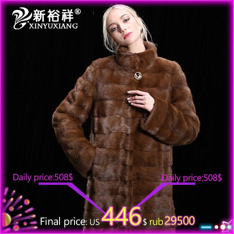 Модная женская шуба из натурального меха норки, Толстая теплая зимняя меховая куртка, верхняя одежда, парка для женщин, пальто из натурально...