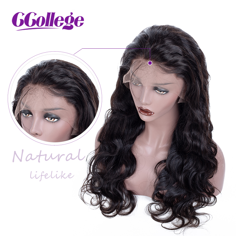 Lace Front Human Hair Wigs Brazilian Body Wave Remy Hair CCollege Lace Frontal Wig For Black