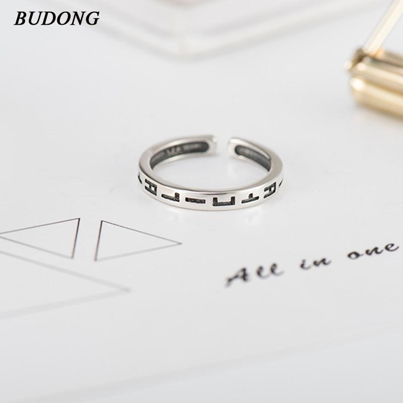 213b7851f021 BUDONG genuino 100% 925 plata esterlina anillos de dedo para las mujeres  compromiso de la boda estilo coreano joyería del anillo carta XURT125