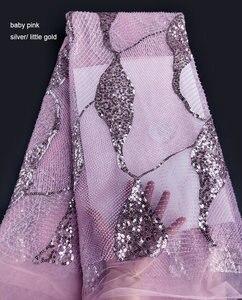 Image 4 - Impresionante encaje francés clásico hecho a mano, tela de tul de boda increíble con todas las cuentas de cristal pequeñas hechas a mano, lentejuelas dobles de 5 yardas