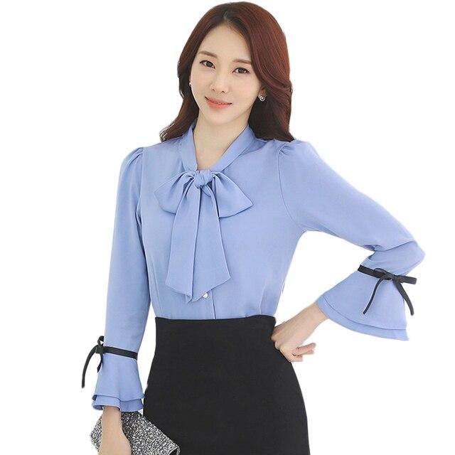 600601ff0a52c5 Elegancki Lady bluzka koszula Bowknot jesień kobiety bluzka długi rozbłysk  rękaw OL Slim kobiety szyfonowa bluzki