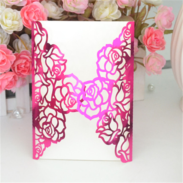 Mr And Mrs Wedding Invitation Cards Striking Hot Pink Metallic Paper In Crafts Laser Cut Invitations