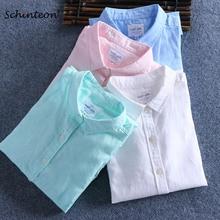 Schinteon Men Spring Summer Cotton Linen Shirt Slim Square Collar Comfortable Undershirt Male Plus Size
