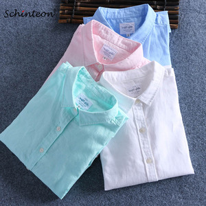 Image 1 - Schinteon Men Spring Summer Cotton Linen Shirt Slim Square Collar Comfortable Undershirt Male Plus Size
