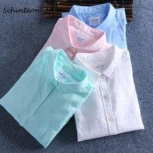 Schinteon mężczyźni wiosna bawełniana pościel na lato koszula Slim kwadratowy kołnierzyk wygodny podkoszulek męski Plus rozmiar
