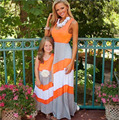 2017 Hot Selling  Mother and Daughter Girls Outfits Chervon Lace Fall Dress Family Matching Clothes ready in stock