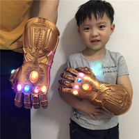 Adult Kids Avengers 4 Endgame Thanos Cosplay Gauntlet LED Light PVC Gloves for Boys Halloween Party Event Props Thanos Glove