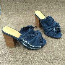 88eeaa539936 Fancy Dark Blue Jeans Block Heel Slippers Classy Denim Butterfly-knot  Decorated Slingback Chunky Heel Sandals Women Comfy Shoes