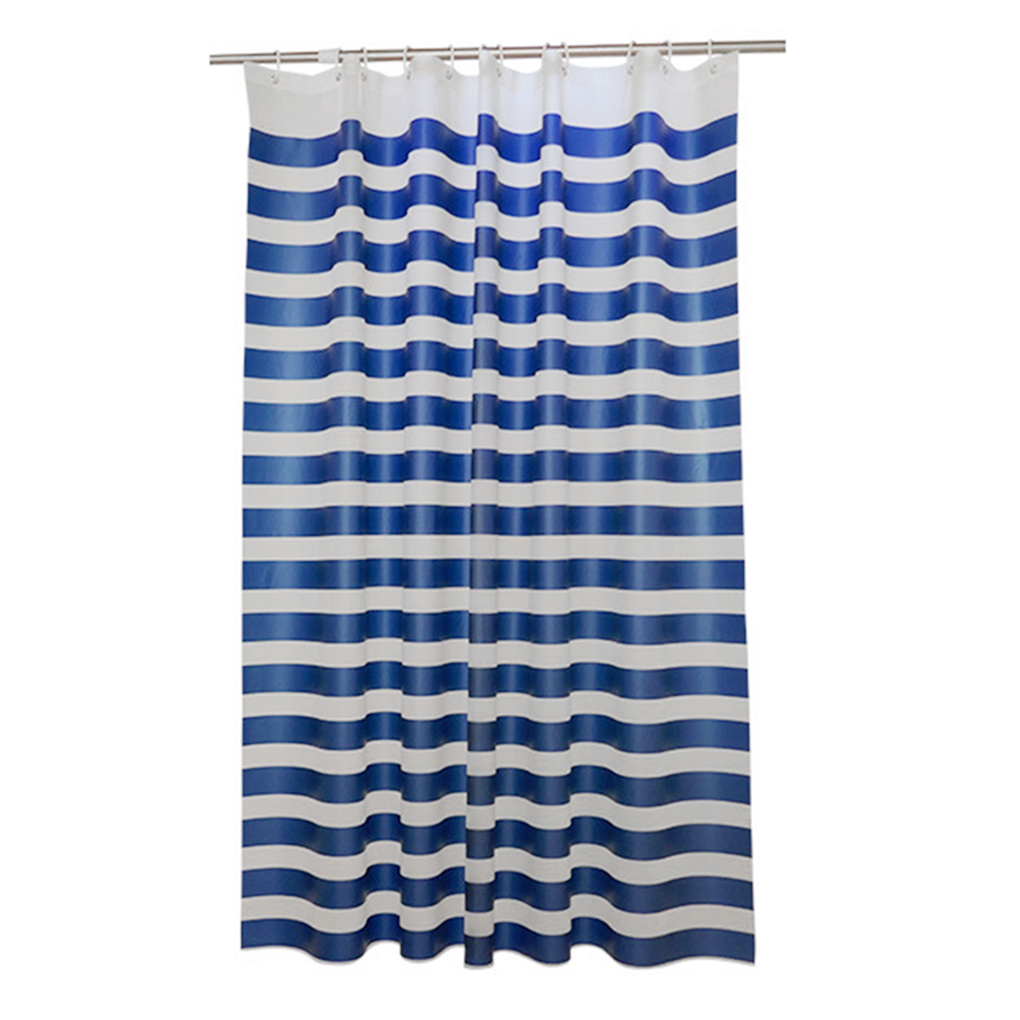 Retro style easy to use Blue+White PEVA Cross Stripe Bathroom Shower Curtain Waterproof and Mildewproof Partition Curtain