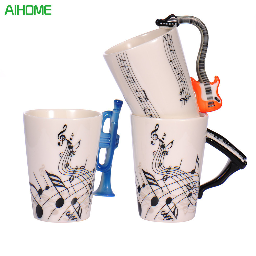 New Fashion Guitar Ceramic Cup Personality Music Note Milk Juice Lemon Mug Coffee Tea Cup Home Office Drinkware Unique Gift