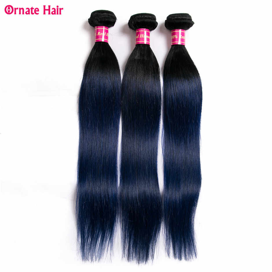 Ornate Ombre Hair Bundles Straight Hair 3 Bundles Malaysia Hair Extension Two Tone 100% Human Hair Weave 8-28 Inch Non Remy Blue
