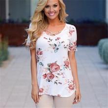 Summer Floral Print Women T-shirt 2017 New Fashion Sexy Criss Cross Top Tees Casual O-neck Short Sleeve T Shirt Plus Size Tops criss cross floral surplice bodyduit top