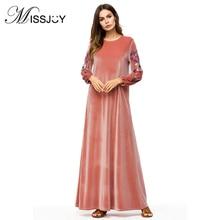 MISSJOY Vestido Terciopelo Arab Velvet Maxi Dress Abaya Turkey Muslim kaftan Dubai Embroided Long Sleeve Islamic Clothing