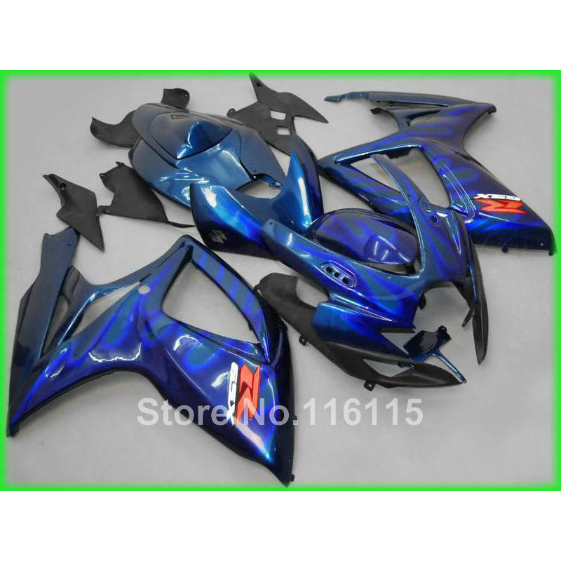 Injection Bodywork fairings for SUZUKI GSXR 600 750 K6 2006 2007 blue flames black ABS fairing kit GSXR600 GSXR750 06 07 OL35 new motorcycle ram air intake tube duct for suzuki gsxr600 gsxr750 2006 2007 k6 abs plastic black