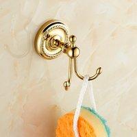 Golden bathroom cloth hook bathroom robe hooks single cloth shelf towel hook towel clothes row hook golden color