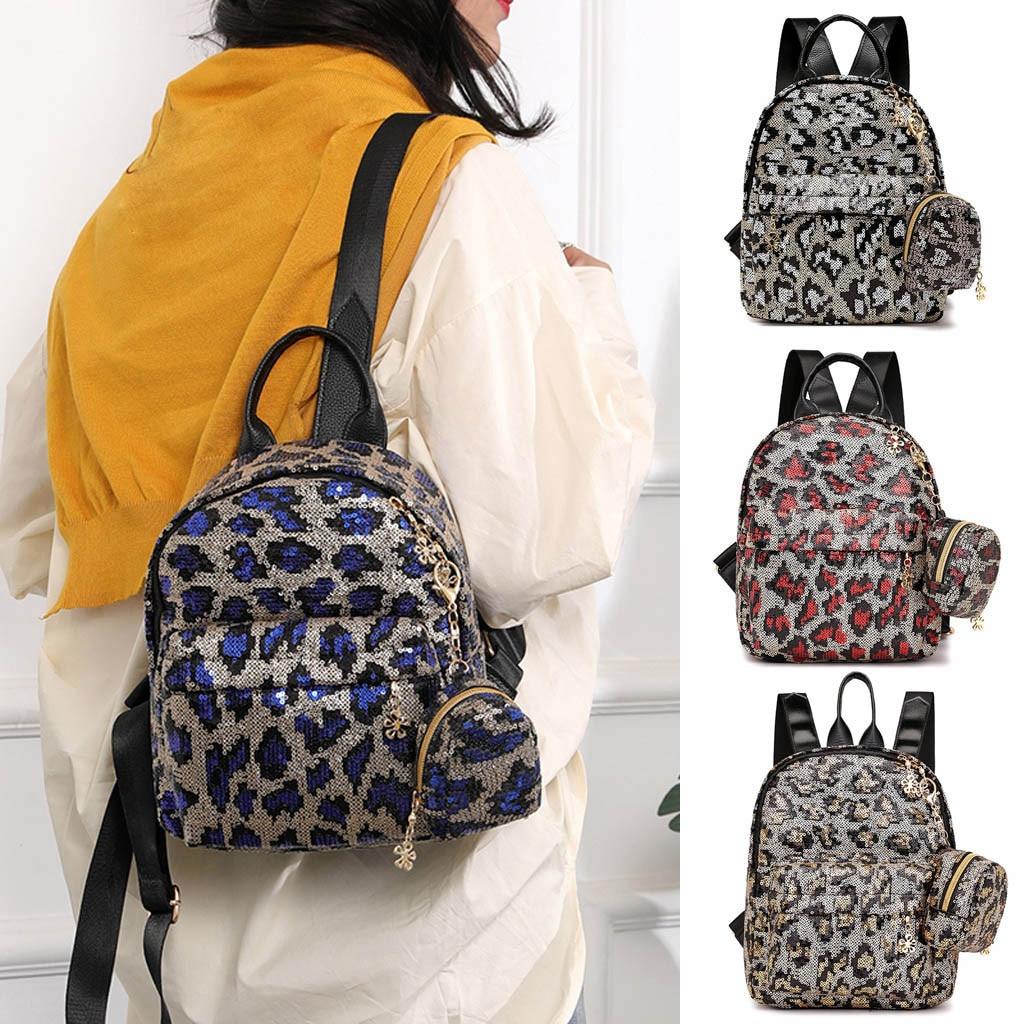 Backpack Women Girl Sequin Leopard Print School Bag Backpack Travel Shoulder Bag+Clutch sac fe dos femmeBackpack Women Girl Sequin Leopard Print School Bag Backpack Travel Shoulder Bag+Clutch sac fe dos femme