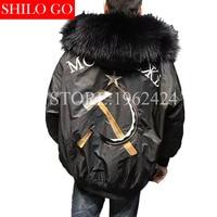 Waterproof Bomber Jacket Big Raccoon Fur Hood Winter Men Parka Natural Real Fur Coat Women Warm