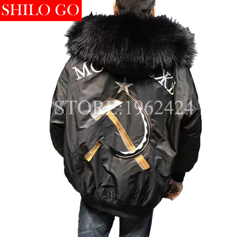 waterproof bomber jacket big raccoon fur hood winter men parka natural real fur coat men warm thick Embroidery titide Down