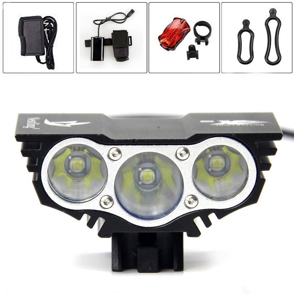 X3 Led Bicycle Light 2200 Lm 3T6 XM-L T6 LED Bike Light Lamp Front HeadLight + 8.4V 18650 Battery Pack + Charger hot sale 3x cree xml t6 led headlamp bike light 5000 lumen 18650 led head light 4x18650 battery pack charger bike rear light