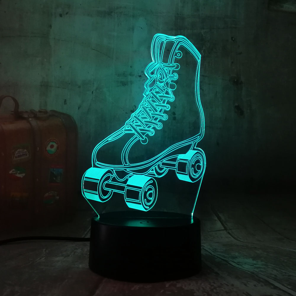 Amroe 3D RGB LED Night Light Roller Skates Multicolor 7 Color Change Table Lamp USB For Child Gift Christmas Decror Novelty Lava