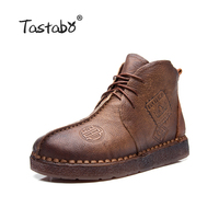 2016 Autumn Designer Retro Boots Handmade Ankle Boots Flat Boots 100 Real Genuine Leather Shoes Botines