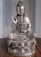 Ev ve Bahçe'ten Statü ve Heykelleri'de Huij 008570 Tibet Budist bronz cated gümüş Kwan Kuan Guan Yin Buda heykeli güzel bak (A0314)