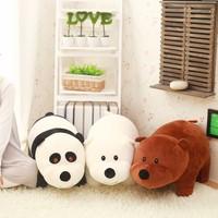 Big 40cm/60cm We Bare Bears Cartoon Bear Grizzly Gray White Teddy Bear Panda Large Stuffed Plush Toy Doll Kid Girl Birthday Gift