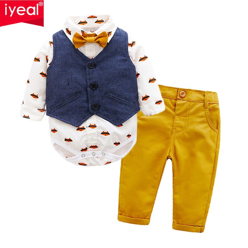 IYEAL 2018 Fashion Baby Boys Clothes Set Long Sleeve Gentleman Suit For Boys Children Clothing Cotton Costume For Kids Suits baby boys suits clothes gentleman suit toddler boys clothing infant clothing wedding birthday cotton summer children s suits