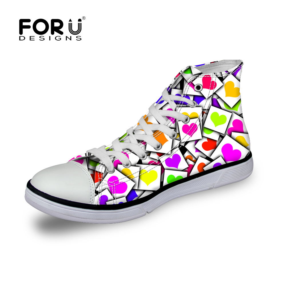FORUDESIGNS  Women High Top Canvas Shoes,Spring Heart Ladies Breathable Casual Shoes,Woman Flats Shoes Plus tenis feminino