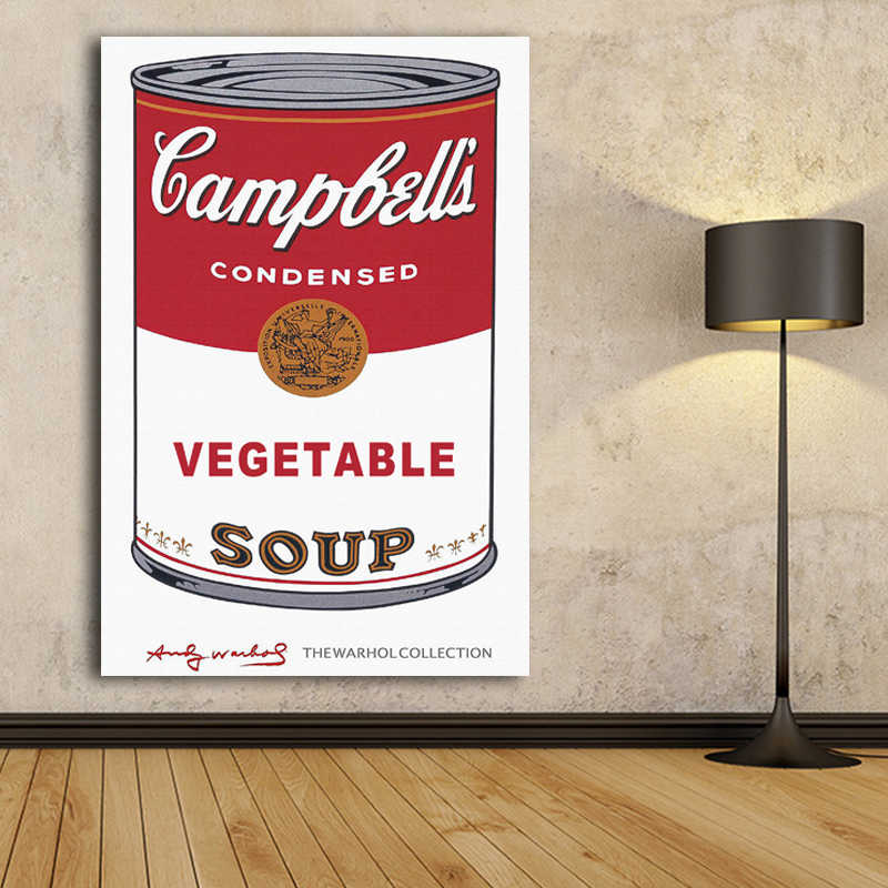 Andy Warhol VEGETABLE SOUP Pop Art Canvas Painting Abstract Decorative Art Prints Posters Classcical Pictures Home Decor