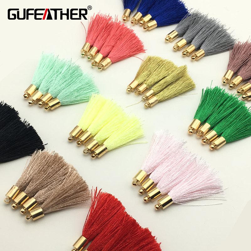 GUFEATHER 4cm bursh Tassel/Golden hat silk tassel/jewelry accessories/accessories parts/jewelry findings 10pcs/bag