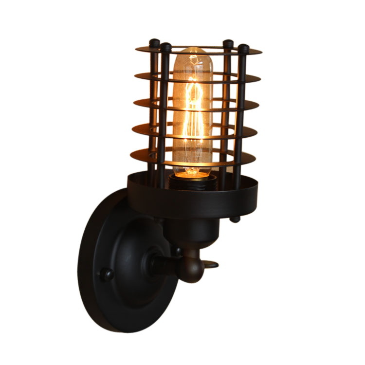 Rétro Cage lampe murale Lampe En Métal Industrielle éclairage mural Vintage Style Edison Mini Antique Luminaire pour Chambre Allée Porche Miroir