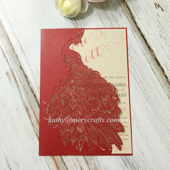 Wholesale laser cut paper peacock wedding invitations red