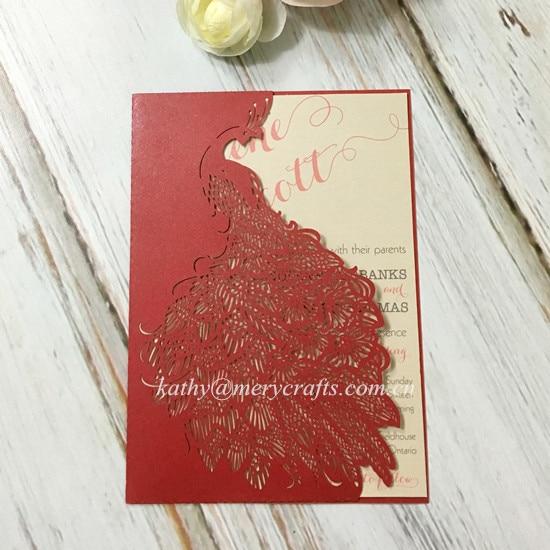 Wholesale Laser Cut Paper Peacock Wedding Invitations Red Pocketfolds Pocketlaser Envelopes