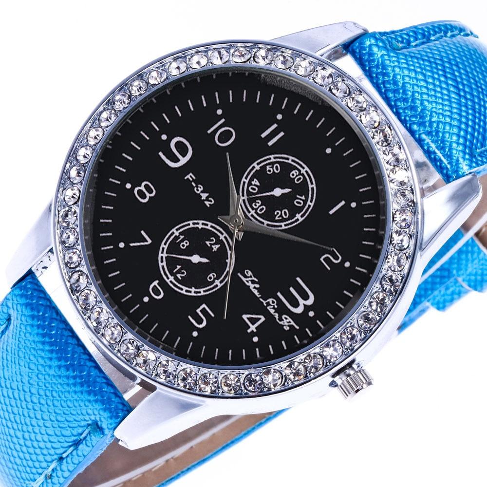 Fashion Fake Two Eyes Digital Scale Silver Diamond Alloy Dial Blue 20mm Crystalline Leather Strap Men