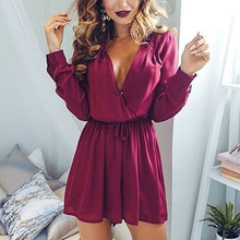 Newly Sexy Women Bandage Deep V Neck Playsuits Long Sleeve Hollow Back Short Overalls Jumpsuit