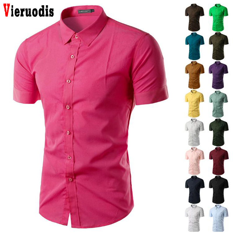 Summer Camisa Social Masculina Chemise Men's Short Sleeve Shirt 2019 New Mens Homme Solid Color Business Slim Fit Shirts 5631