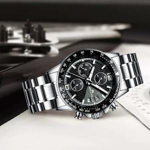 Image 5 - MEGALITH גברים שעונים עסקים קוורץ 30M עמיד למים נירוסטה רצועה שעונים עבור גברים של תאריך אוטומטי שעוני יד שעון Relojes