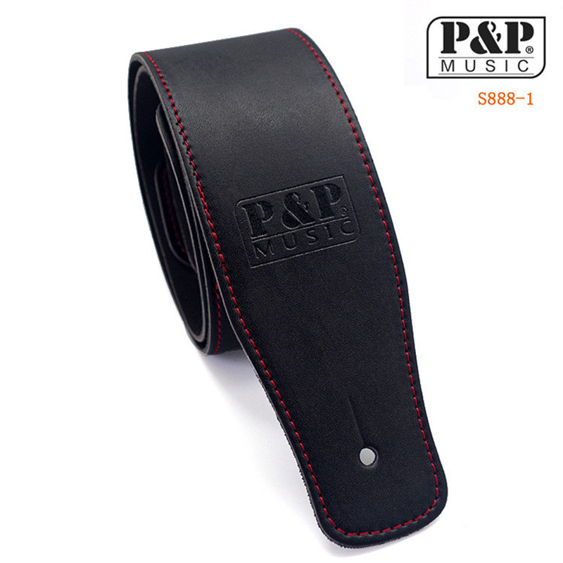 P&P Black Guitar straps bass straps interlining with thick synthetic leather super quality Electric guitar strap/bass belt strap straps good quality leather guitar strap electric bass straps diverse choices hot selling guitar belt